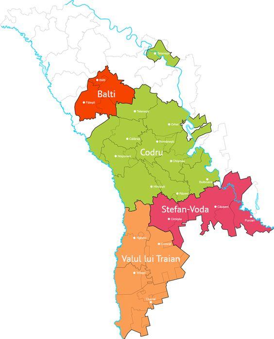 Weingebiete Moldawien Karte